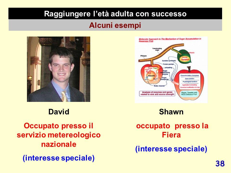 38 Raggiungere letà adulta con successo Alcuni esempi David Occupato presso il servizio metereologico nazionale (interesse speciale) Shawn occupato pr