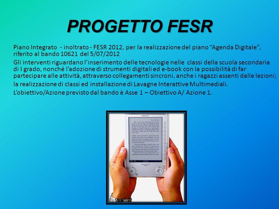 PROGETTO FESR Piano Integrato - inoltrato - FESR 2012, per la realizzazione del piano Agenda Digitale, riferito al bando 10621 del 5/07/2012 Gli inter