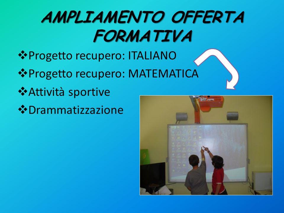 AMPLIAMENTO OFFERTA FORMATIVA Progetto recupero: ITALIANO Progetto recupero: MATEMATICA Attività sportive Drammatizzazione