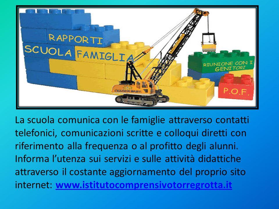 La scuola comunica con le famiglie attraverso contatti telefonici, comunicazioni scritte e colloqui diretti con riferimento alla frequenza o al profit