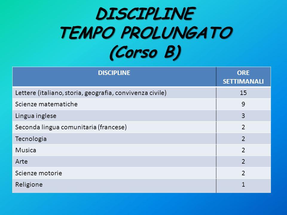 DISCIPLINE TEMPO PROLUNGATO (Corso B) DISCIPLINEORE SETTIMANALI Lettere (italiano, storia, geografia, convivenza civile)15 Scienze matematiche9 Lingua