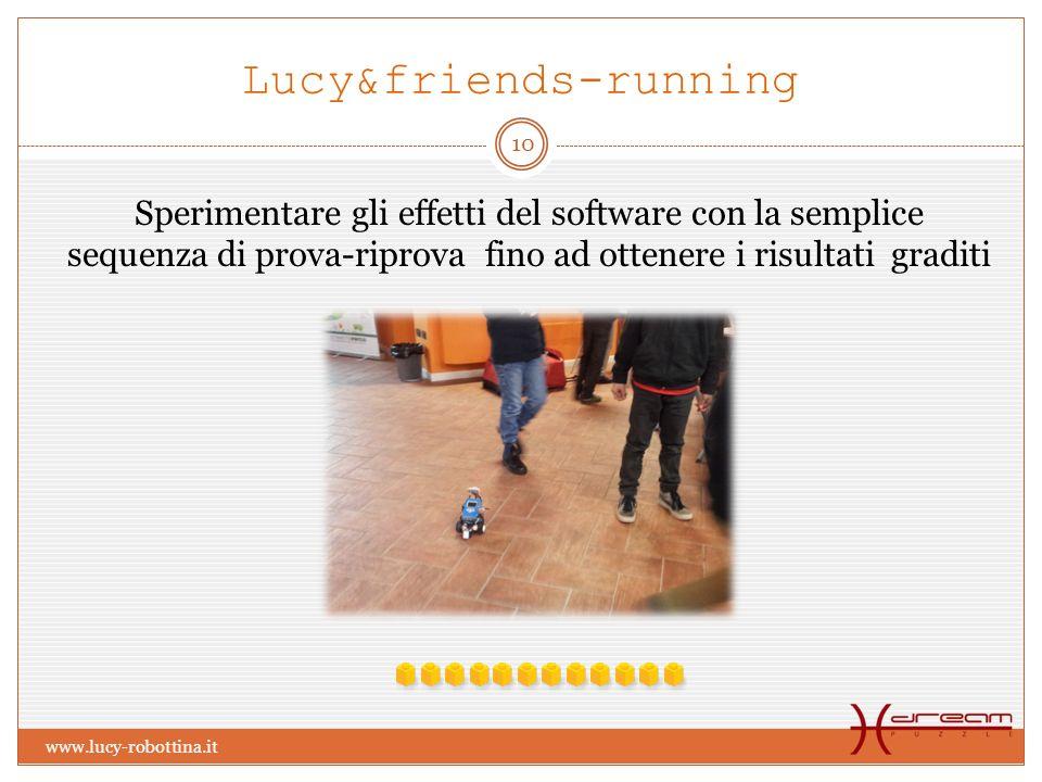 Lucy&friends-running Sperimentare gli effetti del software con la semplice sequenza di prova-riprova fino ad ottenere i risultati graditi 10 www.lucy-robottina.it