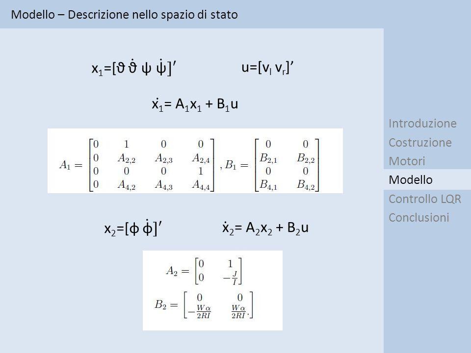 Modello – Descrizione nello spazio di stato Introduzione Costruzione Motori Controllo LQR Conclusioni Modello u=[v l v r ]