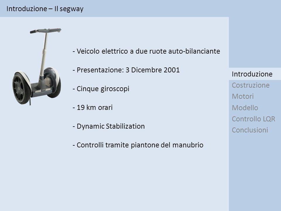 Motori – Identificazione Introduzione Costruzione Modello Controllo LQR Conclusioni Motori I 1 1 1 0 II 3 0 0 0 III 3 3 3 0 IV 0 0 0 3 V 1 1 1 3 Tipo di ingresso Gradino Rampa Cosinusoide PRBS Metodo Metodo I: Scartato per diagrammi di Bode non coerenti con le caratteristiche di velocità dei motori riscontrate a parità di tensione applicata (v M1 <v M2 )