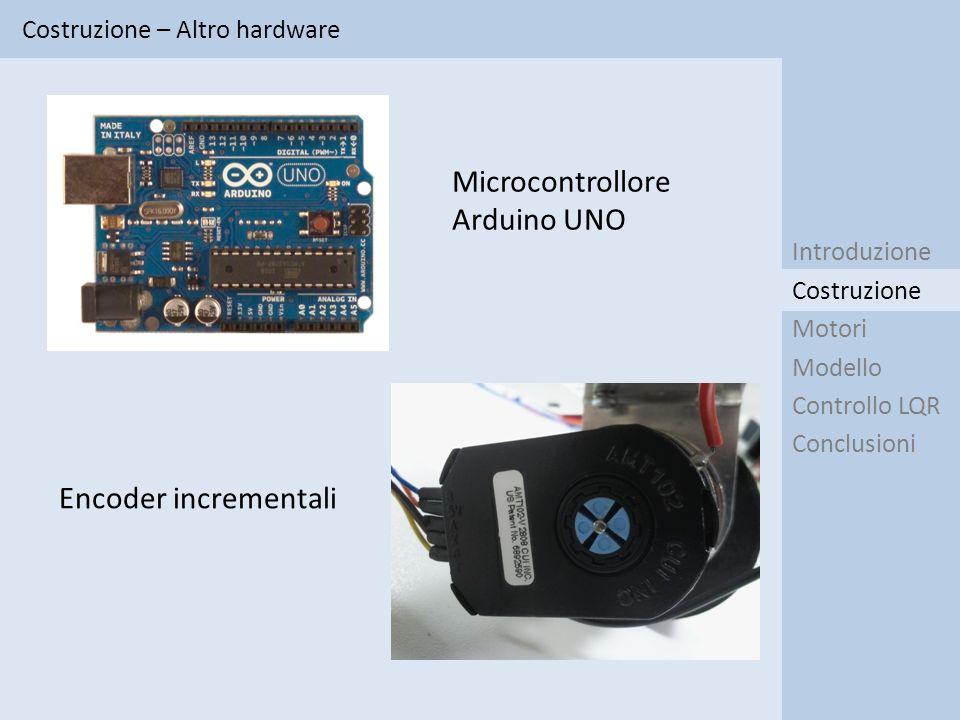 Costruzione – Altro hardware Introduzione Motori Modello Controllo LQR Conclusioni Costruzione Microcontrollore Arduino UNO Encoder incrementali