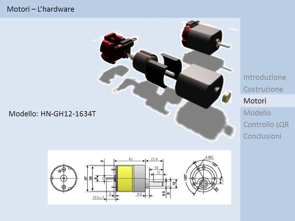 Motori – Identificazione Introduzione Costruzione Modello Controllo LQR Conclusioni Motori I 1 1 1 0 II 3 0 0 0 III 3 3 3 0 IV 0 0 0 3 V 1 1 1 3 Tipo di ingresso Gradino Rampa Cosinusoide PRBS Metodo Metodo V: I risultati relativi al fitting per i segnali PRBS sono accettabili perché gli andamenti sono simili, seppure ritardati.