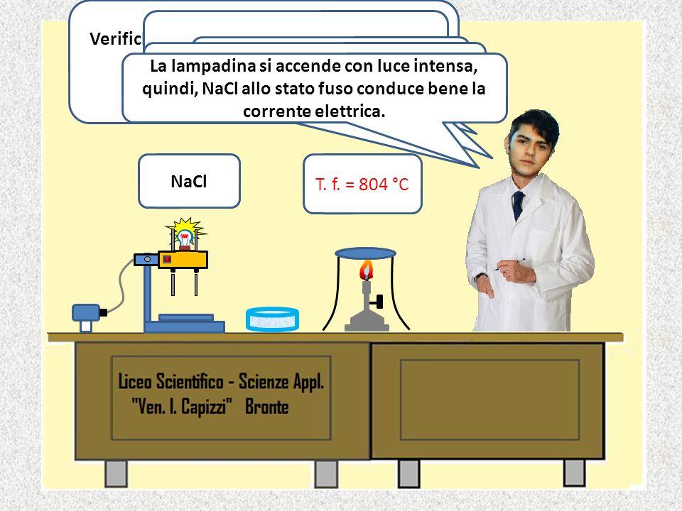 Acido acetico glaciale Immergiamo i due elettrodi nel becker e osserviamo la lampadina. La lampadina non si accende perché la sostanza non conduce la
