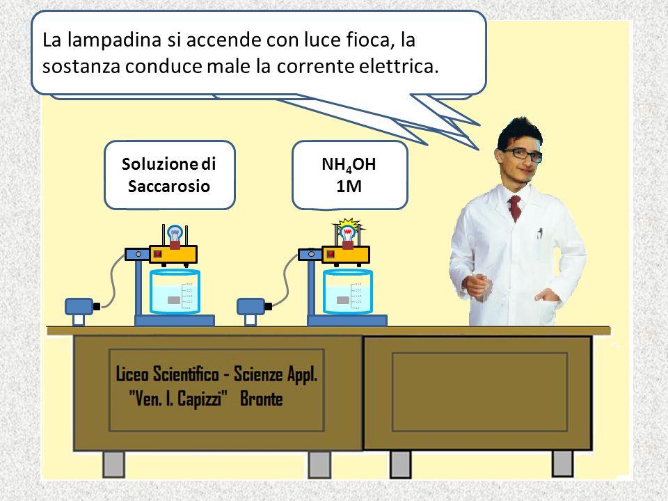 Soluzione di NaCl 1 M Soluzione di CH 3 COOH 1 M La lampadina si accende con luce intensa, la sostanza conduce bene la corrente elettrica. La lampadin