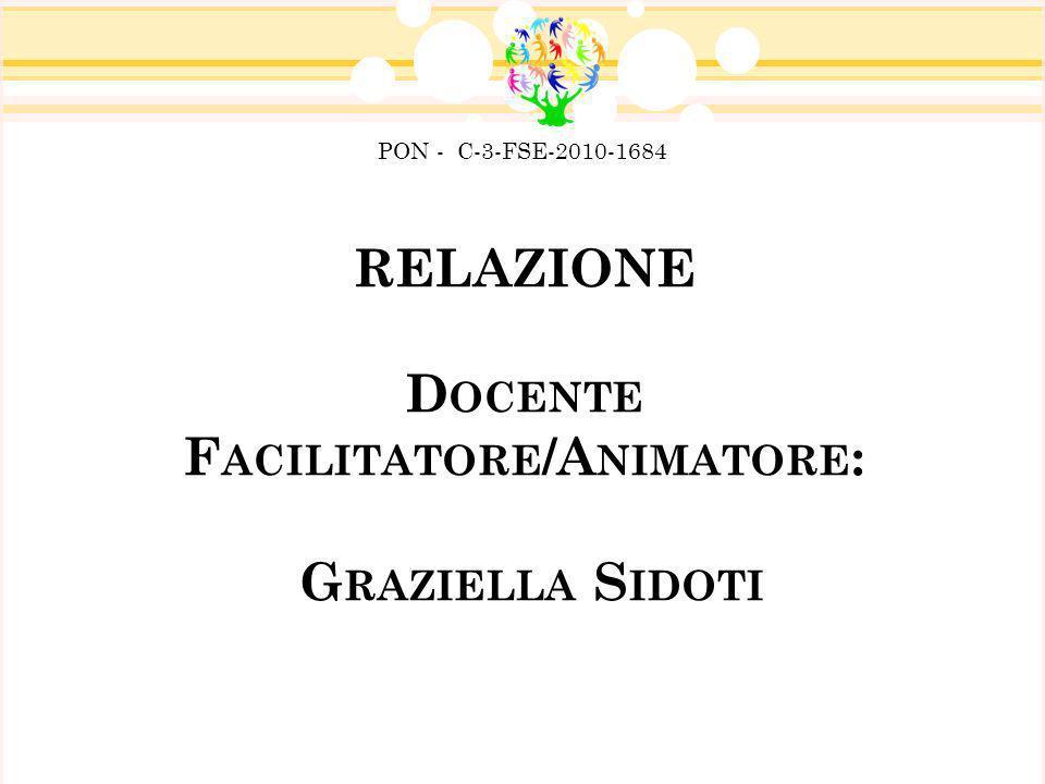 RELAZIONE D OCENTE F ACILITATORE /A NIMATORE : G RAZIELLA S IDOTI PON - C-3-FSE-2010-1684