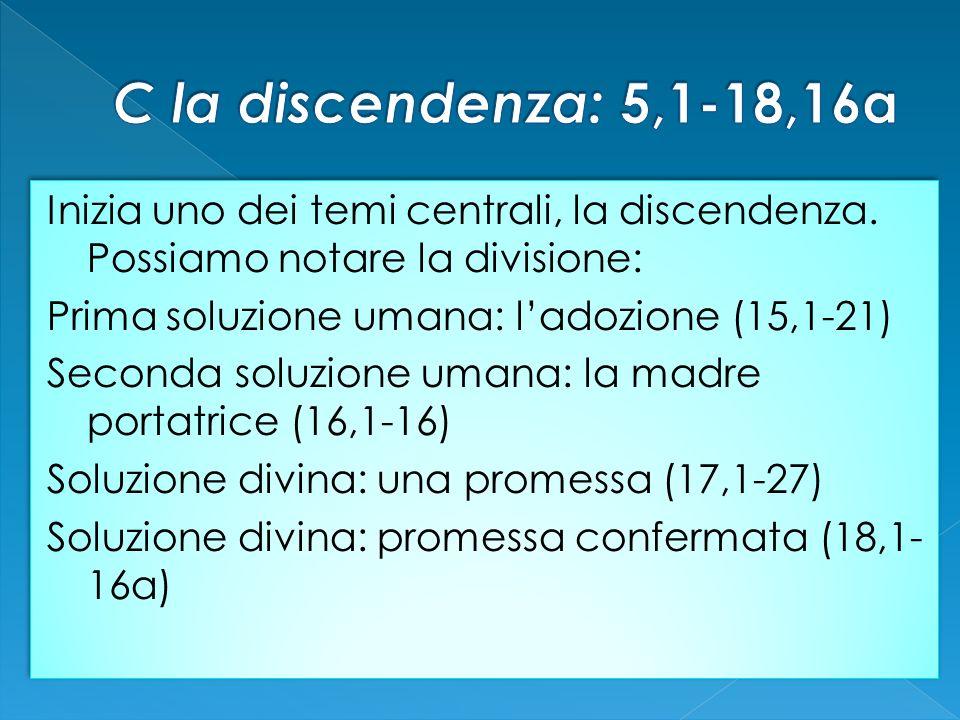 Inizia uno dei temi centrali, la discendenza. Possiamo notare la divisione: Prima soluzione umana: ladozione (15,1-21) Seconda soluzione umana: la mad