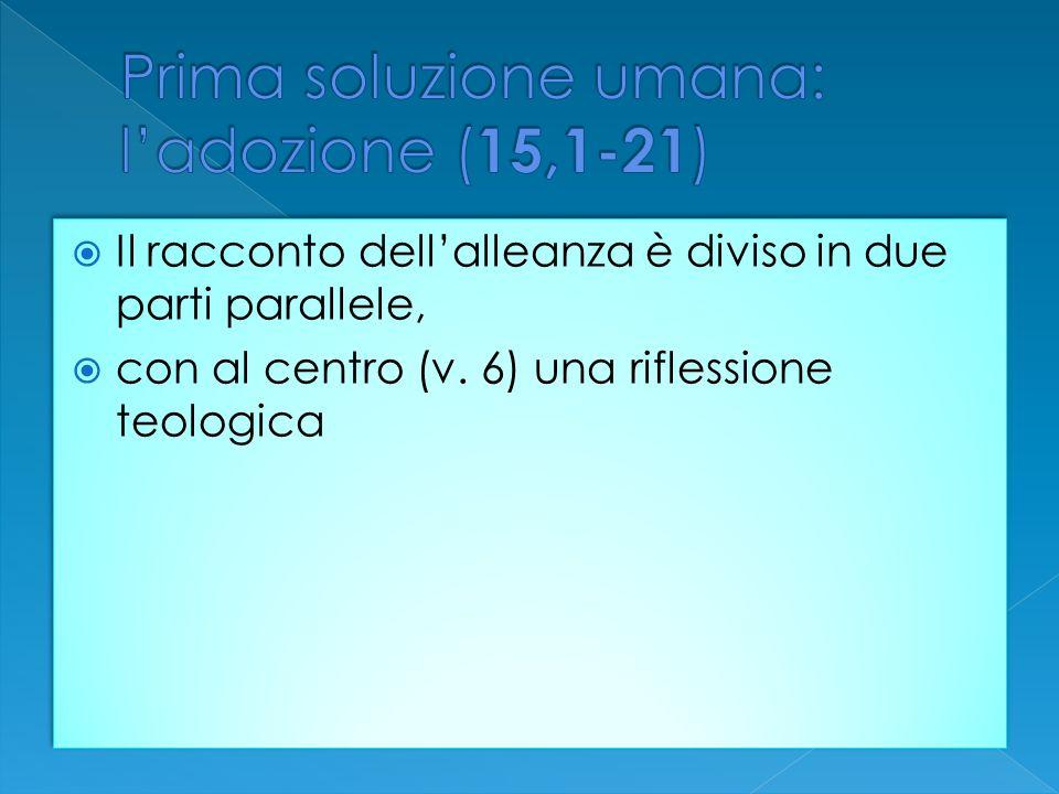Il racconto dellalleanza è diviso in due parti parallele, con al centro (v. 6) una riflessione teologica Il racconto dellalleanza è diviso in due part