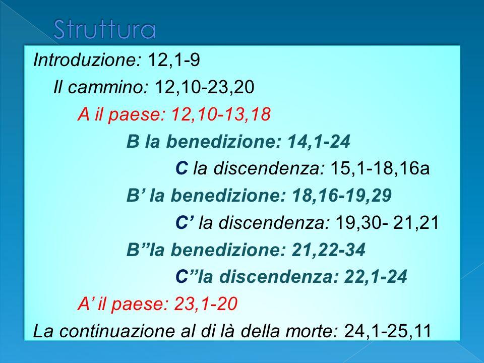 Introduzione: 12,1-9 Il cammino: 12,10-23,20 A il paese: 12,10-13,18 B la benedizione: 14,1-24 C la discendenza: 15,1-18,16a B la benedizione: 18,16-1