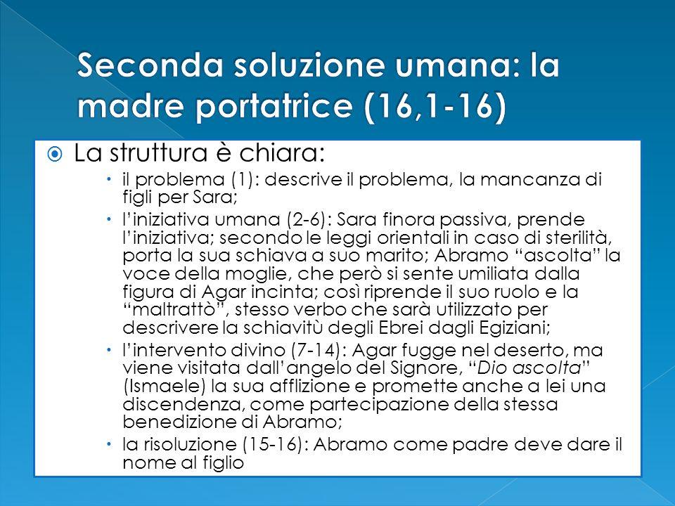 La struttura è chiara: il problema (1): descrive il problema, la mancanza di figli per Sara; liniziativa umana (2-6): Sara finora passiva, prende lini