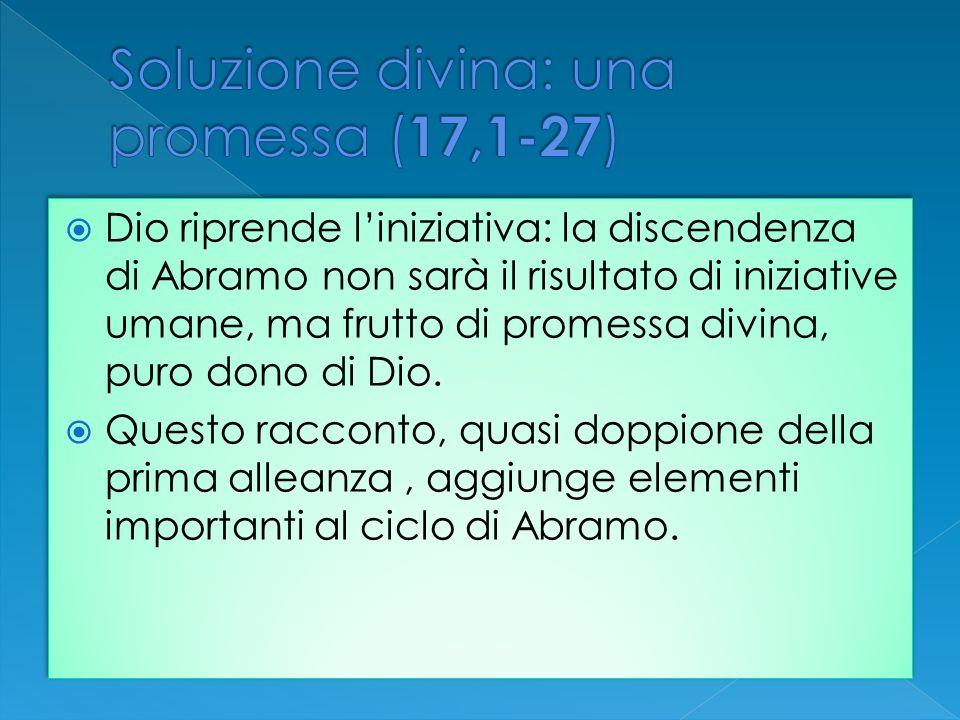 Dio riprende liniziativa: la discendenza di Abramo non sarà il risultato di iniziative umane, ma frutto di promessa divina, puro dono di Dio. Questo r