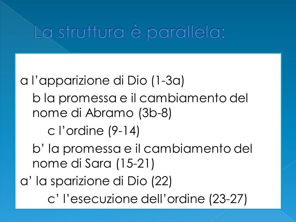 a lapparizione di Dio (1-3a) b la promessa e il cambiamento del nome di Abramo (3b-8) c lordine (9-14) b la promessa e il cambiamento del nome di Sara