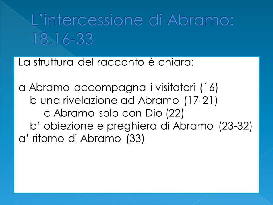 La struttura del racconto è chiara: a Abramo accompagna i visitatori (16) b una rivelazione ad Abramo (17-21) c Abramo solo con Dio (22) b obiezione e