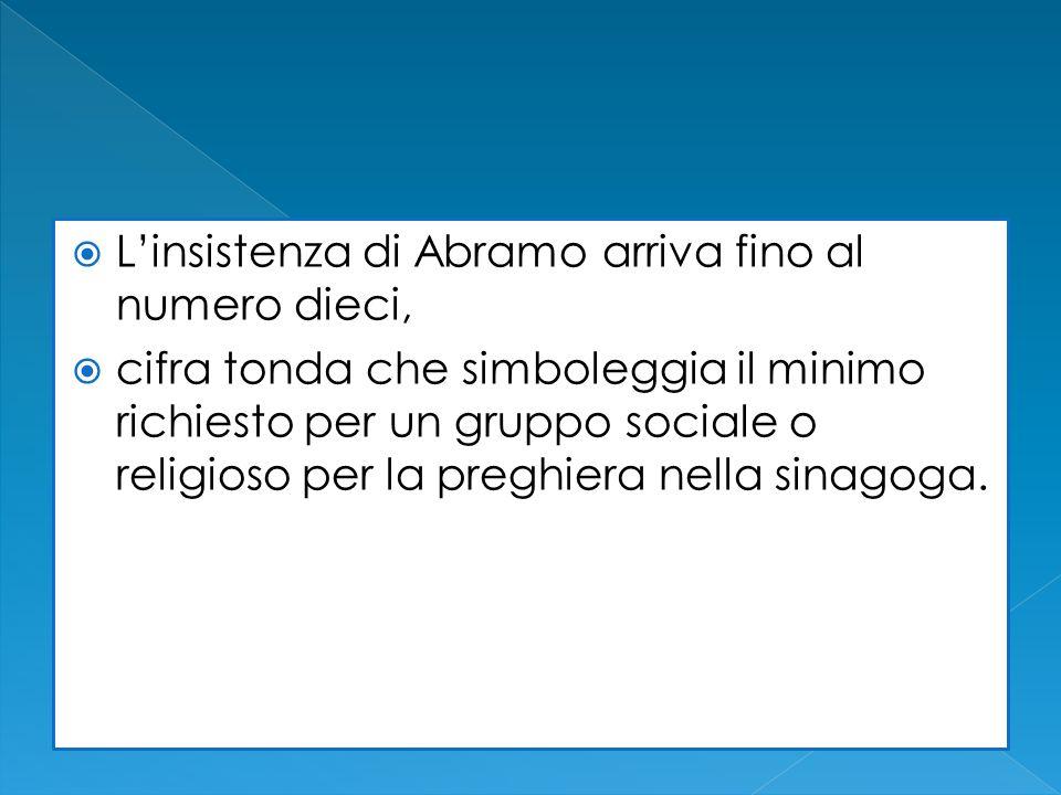 Linsistenza di Abramo arriva fino al numero dieci, cifra tonda che simboleggia il minimo richiesto per un gruppo sociale o religioso per la preghiera