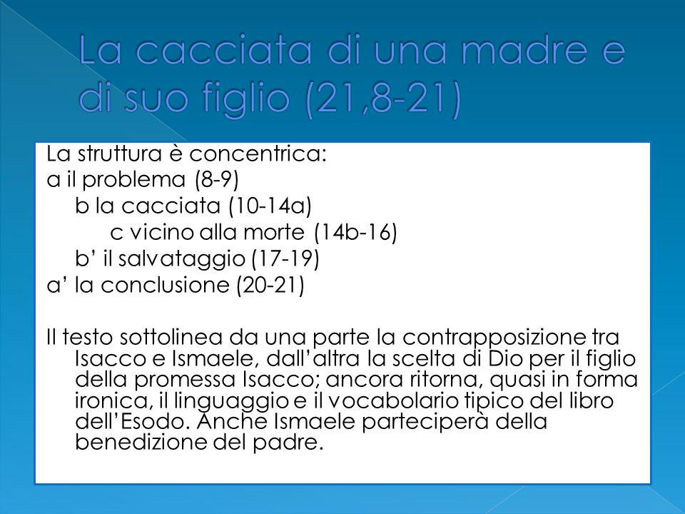 La struttura è concentrica: a il problema (8-9) b la cacciata (10-14a) c vicino alla morte (14b-16) b il salvataggio (17-19) a la conclusione (20-21)