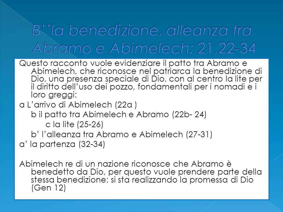 Questo racconto vuole evidenziare il patto tra Abramo e Abimelech, che riconosce nel patriarca la benedizione di Dio, una presenza speciale di Dio, co