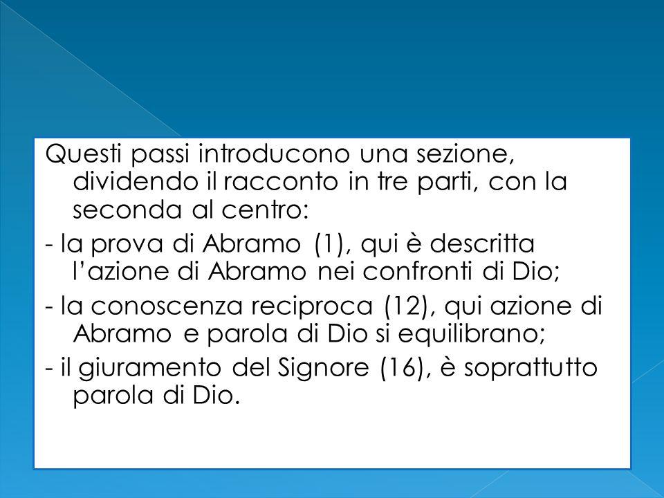 Questi passi introducono una sezione, dividendo il racconto in tre parti, con la seconda al centro: - la prova di Abramo (1), qui è descritta lazione