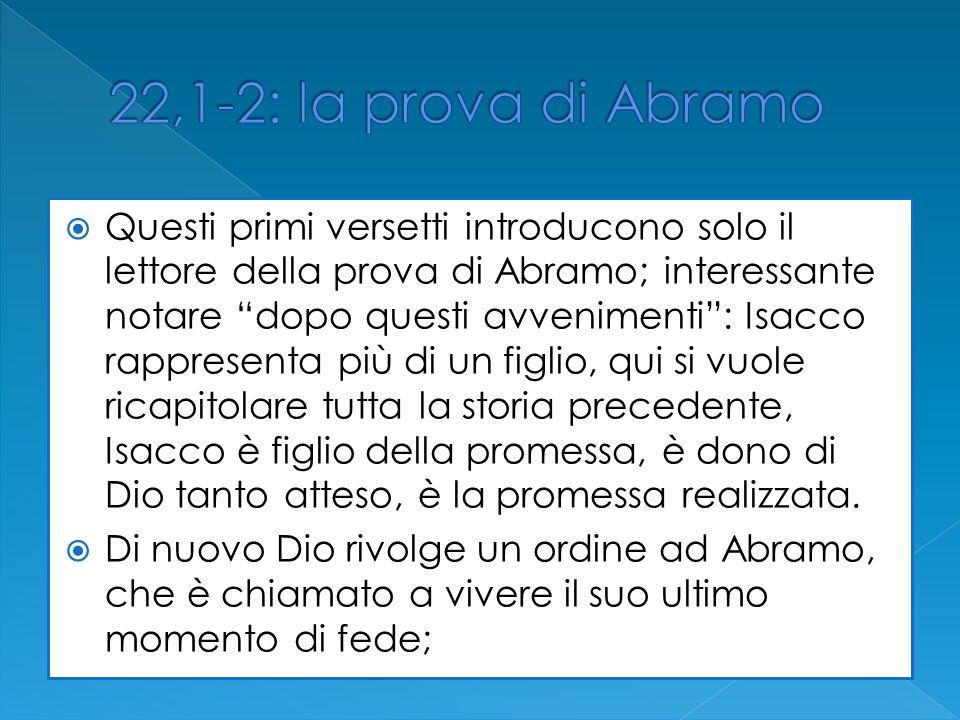 Questi primi versetti introducono solo il lettore della prova di Abramo; interessante notare dopo questi avvenimenti: Isacco rappresenta più di un fig