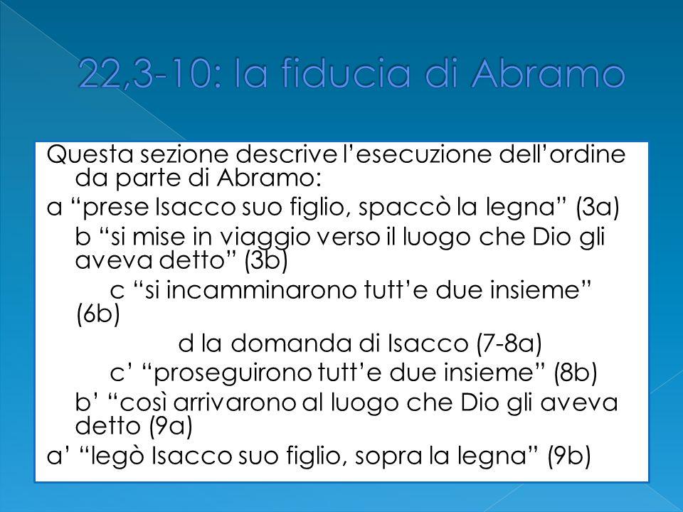 Questa sezione descrive lesecuzione dellordine da parte di Abramo: a prese Isacco suo figlio, spaccò la legna (3a) b si mise in viaggio verso il luogo