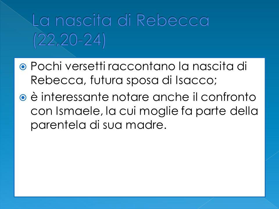 Pochi versetti raccontano la nascita di Rebecca, futura sposa di Isacco; è interessante notare anche il confronto con Ismaele, la cui moglie fa parte