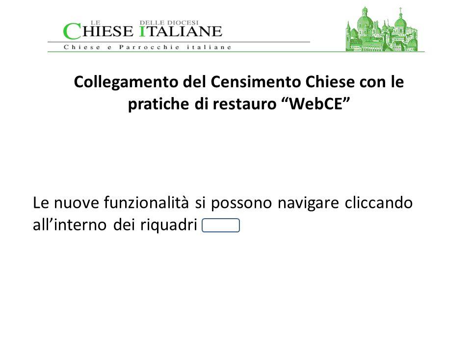 Collegamento del Censimento Chiese con le pratiche di restauro WebCE Le nuove funzionalità si possono navigare cliccando allinterno dei riquadri