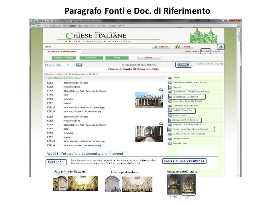 Paragrafo Fonti e Doc. di Riferimento WebCE - Fotografie e documentazione interventi E/6692/2011 Consolidamento e restauro copertura; Consolidamento e
