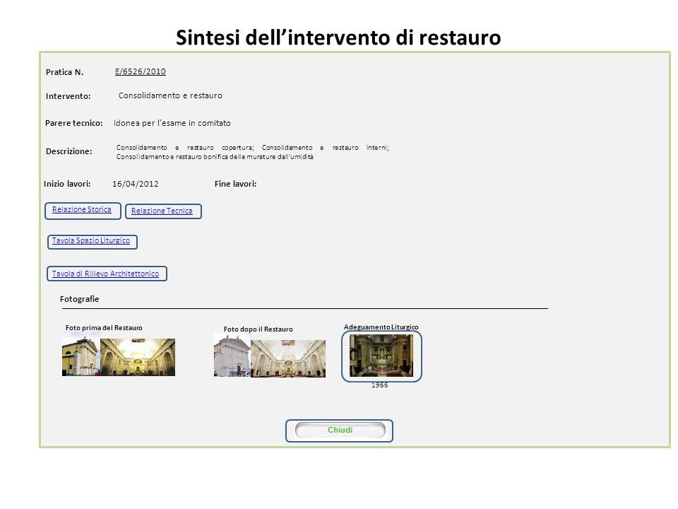 Sintesi dellintervento di restauro Pratica N. E/6526/2010 16/04/2012 Intervento: Consolidamento e restauro copertura; Consolidamento e restauro intern