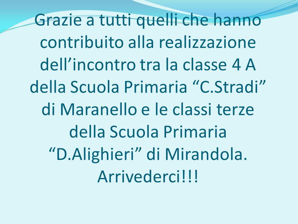 Grazie a tutti quelli che hanno contribuito alla realizzazione dellincontro tra la classe 4 A della Scuola Primaria C.Stradi di Maranello e le classi terze della Scuola Primaria D.Alighieri di Mirandola.