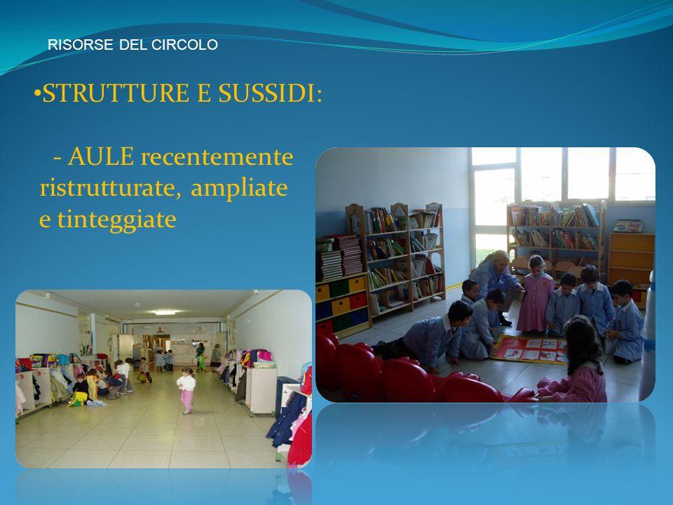 RISORSE DEL CIRCOLO STRUTTURE E SUSSIDI: - AULE recentemente ristrutturate, ampliate e tinteggiate