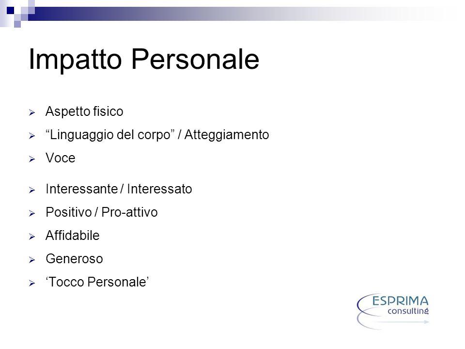 Impatto Personale Aspetto fisico Linguaggio del corpo / Atteggiamento Voce Interessante / Interessato Positivo / Pro-attivo Affidabile Generoso Tocco