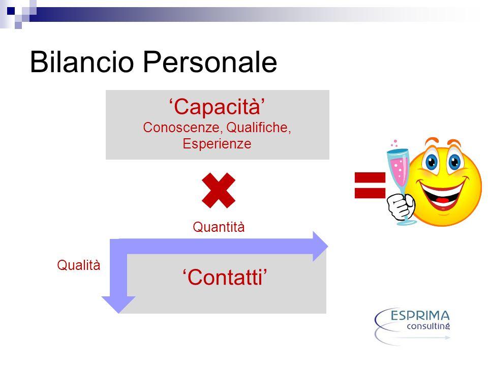 Bilancio Personale Quantità Qualità Contatti Capacità Conoscenze, Qualifiche, Esperienze