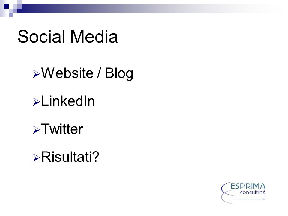Social Media Website / Blog LinkedIn Twitter Risultati?