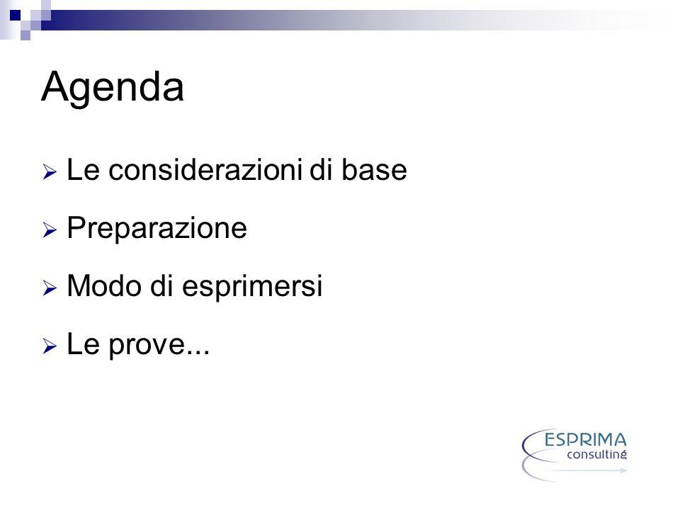 Agenda Le considerazioni di base Preparazione Modo di esprimersi Le prove...
