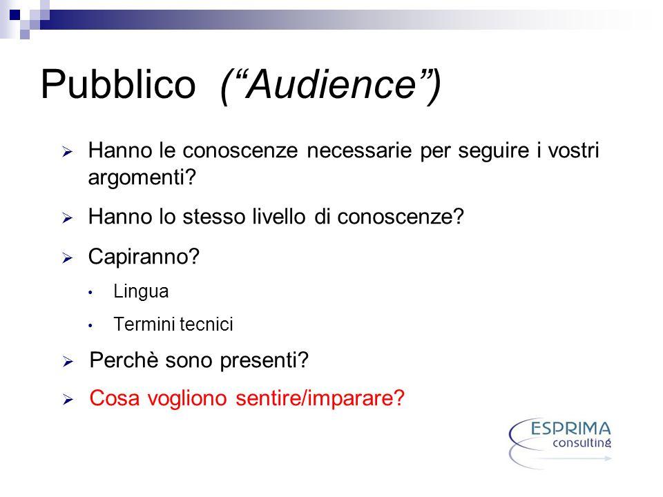 Pubblico (Audience) Hanno le conoscenze necessarie per seguire i vostri argomenti? Hanno lo stesso livello di conoscenze? Capiranno? Lingua Termini te