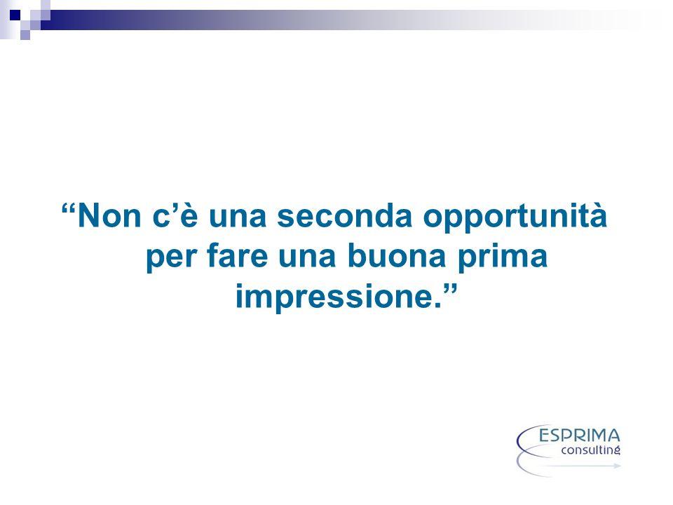 Non cè una seconda opportunità per fare una buona prima impressione.