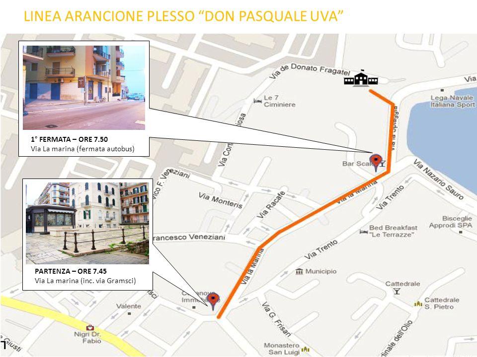 1° FERMATA – ORE 7.50 Via La marina (fermata autobus) PARTENZA – ORE 7.45 Via La marina (inc. via Gramsci) LINEA ARANCIONE PLESSO DON PASQUALE UVA