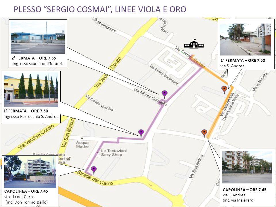 PLESSO SERGIO COSMAI, LINEE VIOLA E ORO 1° FERMATA – ORE 7.50 via S. Andrea CAPOLINEA – ORE 7.45 via S. Andrea (inc. via Maiellaro) 2° FERMATA – ORE 7
