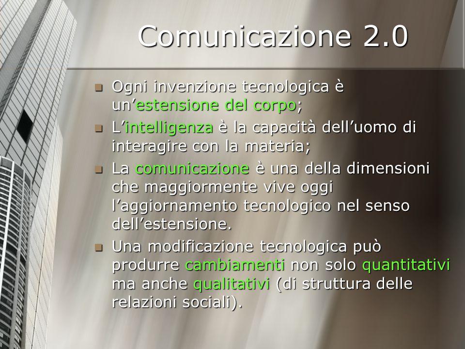 Comunicazione 2.0 ESEMPIO (di L.White – M. McLuhan): ESEMPIO (di L.