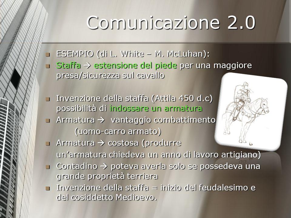 Comunicazione 2.0 Le nuove invenzioni tecnologiche - soprattutto rispetto alla dimensione comunicativa - cambiano il modo di percepire, pensare, rileggere, spiegare la realtà trasformano la realtà Le nuove invenzioni tecnologiche - soprattutto rispetto alla dimensione comunicativa - cambiano il modo di percepire, pensare, rileggere, spiegare la realtà trasformano la realtà Eppure la struttura della comunicazione (sebbene radicalmente cambiata) rimane una estensione della capacità di comunicare (ricevere e dare informazioni) del nostro corpo.