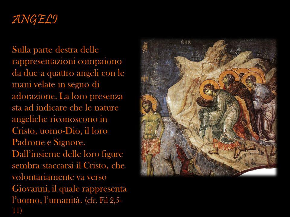 ANGELI Sulla parte destra delle rappresentazioni compaiono da due a quattro angeli con le mani velate in segno di adorazione. La loro presenza sta ad