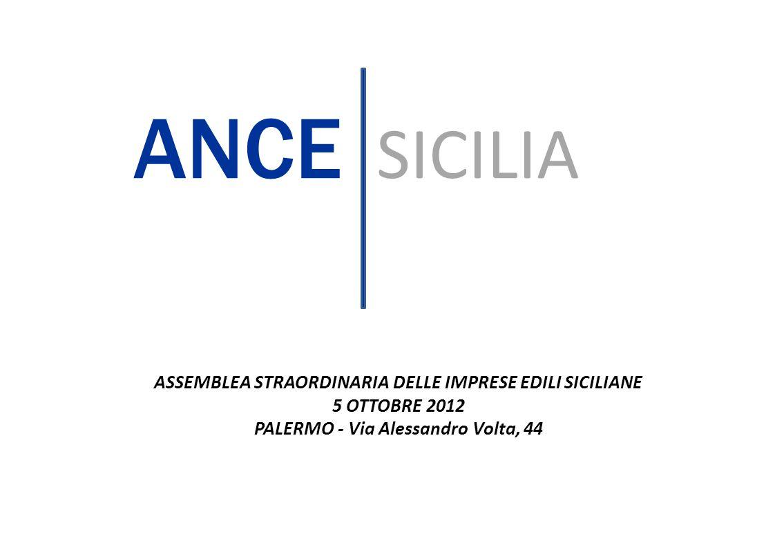 ASSEMBLEA STRAORDINARIA DELLE IMPRESE EDILI SICILIANE 5 OTTOBRE 2012 PALERMO - Via Alessandro Volta, 44 ANCE SICILIA