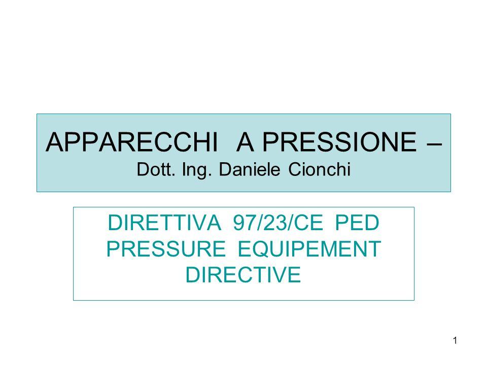 1 APPARECCHI A PRESSIONE – Dott. Ing. Daniele Cionchi DIRETTIVA 97/23/CE PED PRESSURE EQUIPEMENT DIRECTIVE