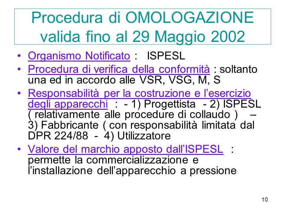 10 Procedura di OMOLOGAZIONE valida fino al 29 Maggio 2002 Organismo Notificato : ISPESL Procedura di verifica della conformità : soltanto una ed in accordo alle VSR, VSG, M, S Responsabilità per la costruzione e lesercizio degli apparecchi : - 1) Progettista - 2) ISPESL ( relativamente alle procedure di collaudo ) – 3) Fabbricante ( con responsabilità limitata dal DPR 224/88 - 4) Utilizzatore Valore del marchio apposto dallISPESL : permette la commercializzazione e linstallazione dellapparecchio a pressione