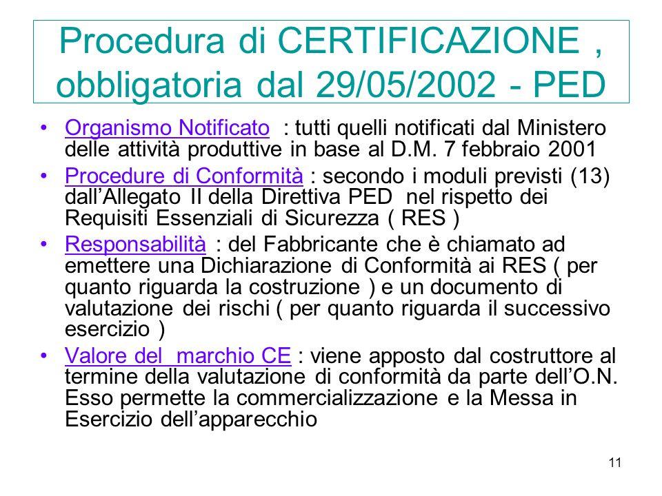 11 Procedura di CERTIFICAZIONE, obbligatoria dal 29/05/2002 - PED Organismo Notificato : tutti quelli notificati dal Ministero delle attività produttive in base al D.M.