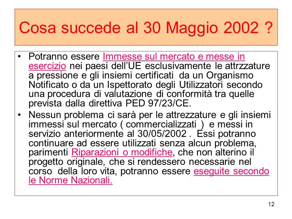 12 Cosa succede al 30 Maggio 2002 ? Potranno essere Immesse sul mercato e messe in esercizio nei paesi dellUE esclusivamente le attrzzature a pression