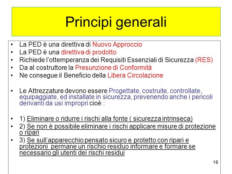 16 Principi generali La PED è una direttiva di Nuovo Approccio La PED è una direttiva di prodotto Richiede lottemperanza dei Requisiti Essenziali di S