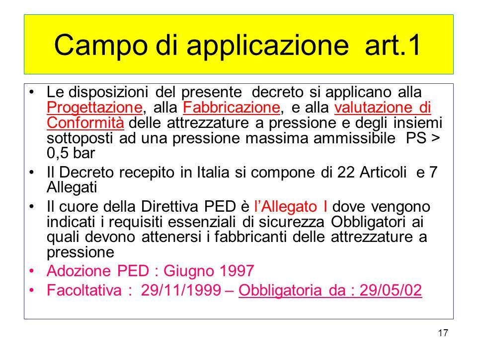 17 Campo di applicazione art.1 Le disposizioni del presente decreto si applicano alla Progettazione, alla Fabbricazione, e alla valutazione di Conform